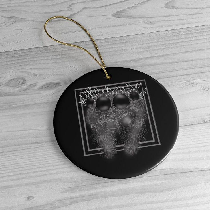 Creepy And Cute Jumping Spider Ceramic Ornament Black Goth ...