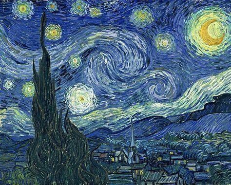 """Descrizione di Van Gogh al fratello Theo """"Una tela da trenta quadrati, finalmente il cielo stellato dipinto la sera stessa sotto un lume a gas. Il cielo è azzurro verde, l'acqua è blu reale, la terra color mauve, la città (Arles) è blu e viola, la lampada a gas è gialla e i riflessi sono di un oro rosso e arrivano fino al bronzo verde. Sul grande campo blu verde del cielo l'Orsa Maggiore brilla di una luce verde e rosa, il cui pallore discreto contrasta con l'oro violento del lume a gas."""""""