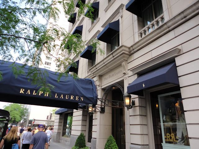 dc9e6ec8c Stunning navy awnings outside the world s largest Ralph Lauren Store in  Chicago