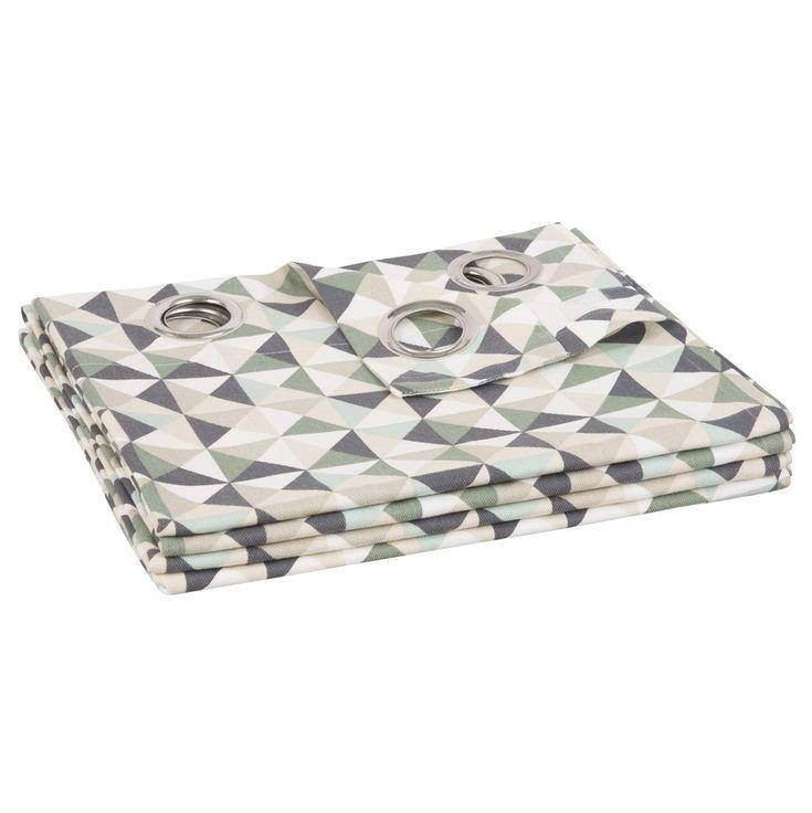 Ösenvorhang aus Baumwolle mit Dreiecksmotiven 110x250 | Maisons du Monde