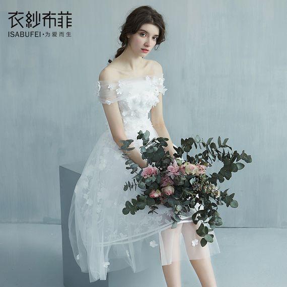 부페 후아 링 2017 새로운 단어 어깨 신부 웨딩 드레스 짧은 단락 분리 꼬리 빛이 결혼식 여행을 쏠