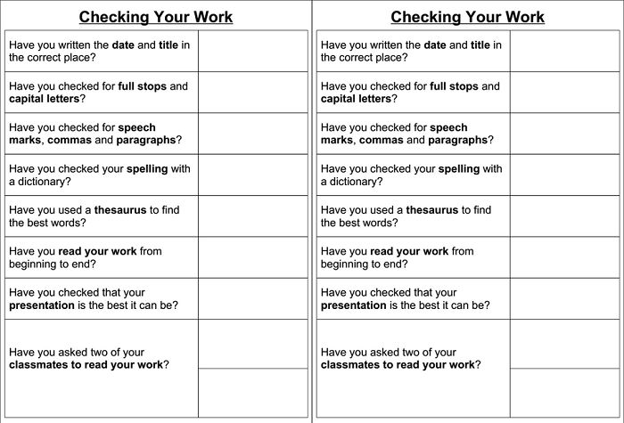 Desk checks for writing - A simple A5 checklist of general things to check in written work. You can laminate and mark off with whiteboard pens. Two on one A4 page.