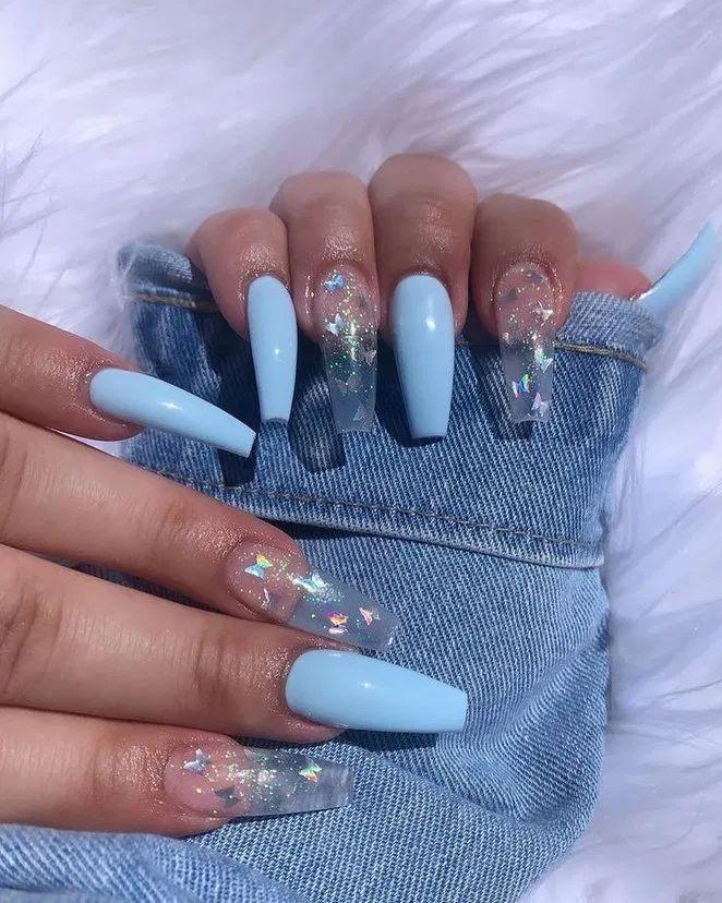 Baby Blue And Clear Nail Inspo In 2020 Nails After Acrylics Best Acrylic Nails Blue Acrylic Nails