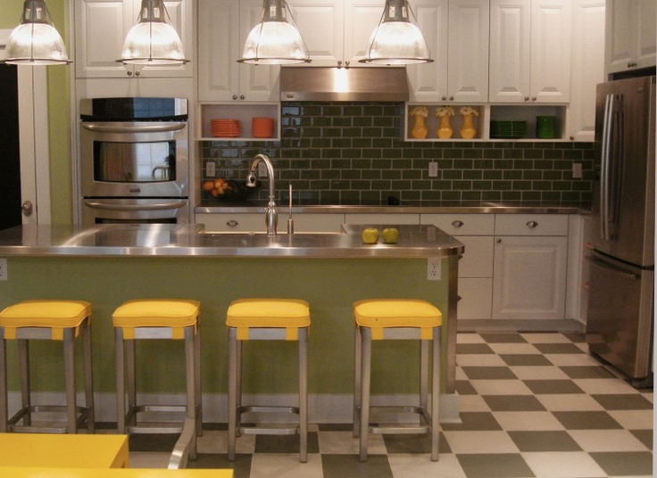 Emeco  STOL Stool with Yellow Seat Pad