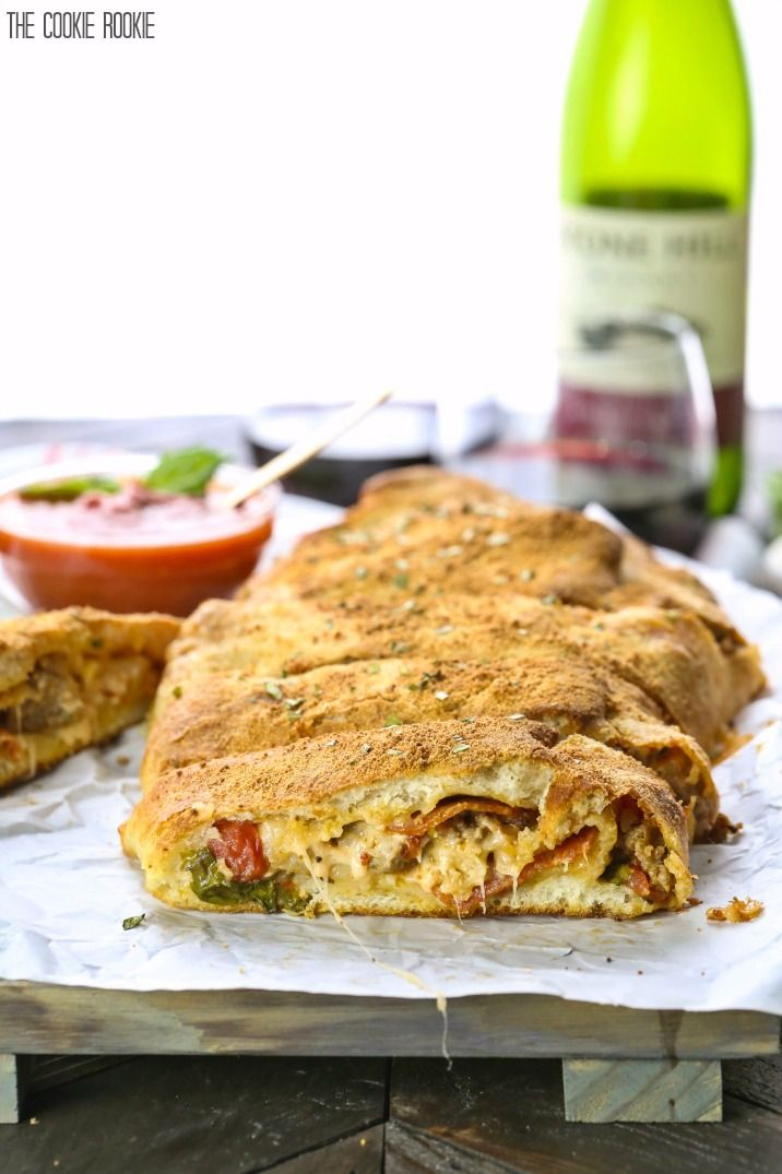 Super Easy Sausage and Pepperoni Stromboli, one of my FAVORITE meals! Cheesy, delicious, and SO EASY! Every night can be Italian night!