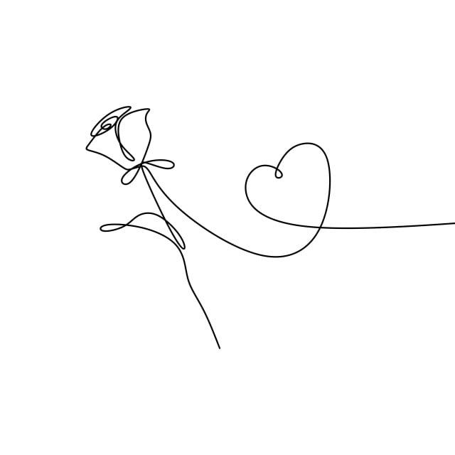Continuous Line Drawing Of Rose Petal Vector Illustration Minimalist Design Roses Clipart Stylized Outline Png And Vector With Transparent Background For Fre Continuous Line Drawing Rose Sketch Outline Art