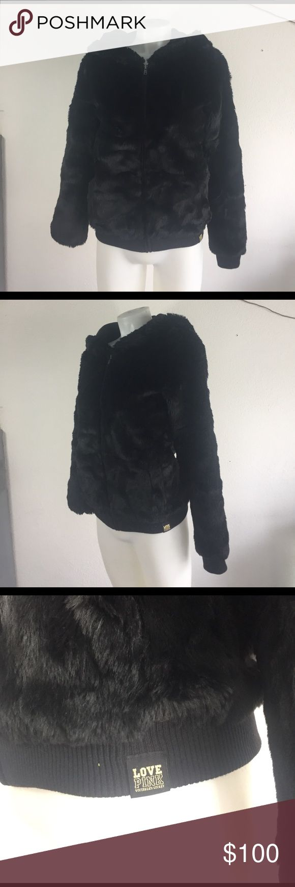 Love Pink Black Faux Fur Coat XS Beautiful Limited addition Black faux fur coat supersoft Nice lining and to me this code is reversible Love Pink Jackets & Coats