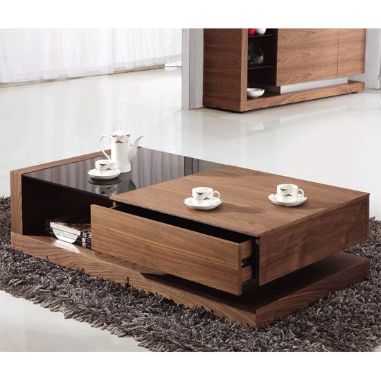 Alda Wooden Coffee Table With Drawer In Walnut Center Pinterest Drawers And