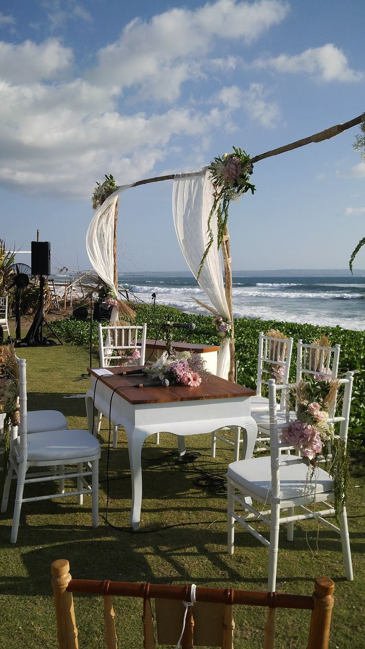 Akad Nikah Setup,console table,Chic Rustic style,Wooden pole backdrop,Lace Curtain  www.nouadecor.com
