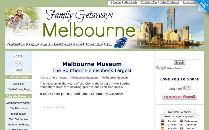 Melbourne Museum Site Page