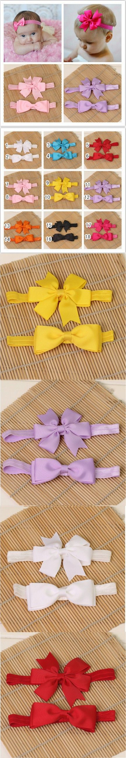 Baby girl kids elastics hair head bands flower satin ribbon bows headband accessories for newborns hair wrap hairband headwear