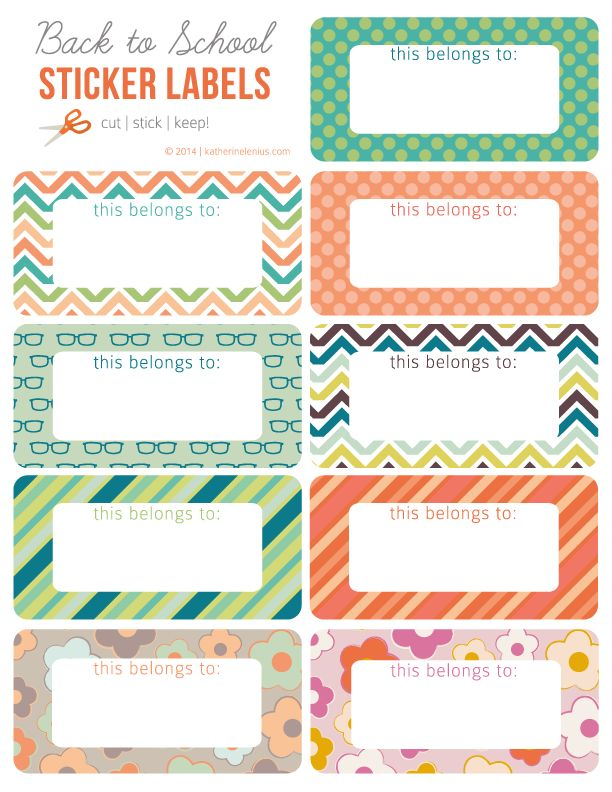 Back To School Labels Free Printable