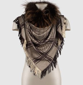 Pattern Shawl with Fur trim by Gucci. Learn what to wear this fall, 2015 >>> http://justbestylish.com/what-to-wear-this-fall/