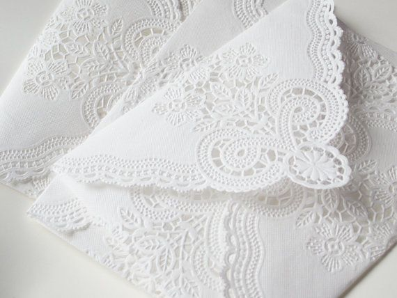 SALE  Vintage Lace Envelopes  Vintage Paper Doily by anistadesigns, $9.00