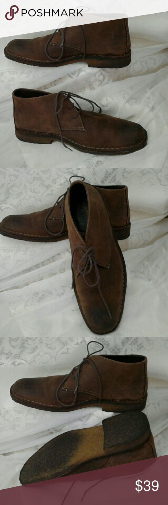 JOHNSTON & MURPHY WAXED NUBUCK  CHUKKA BOOTS CREPE SOLES, LACE CLOSURE, LEATHER LINED, MEMORY FOAM PADDED FOOTBED , GREAT PRE-LOVED CONDITION JOHNSTON AND MURPHY  Shoes Chukka Boots