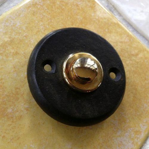 Tuerklingel-rund-schwarz-Klingelknopf-Messing-Klingel-passend-zu-Haustuer-antik