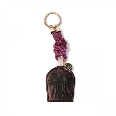 Lacrom Store || Gattabuia, accessories, key rings  Key ring made with rope and leather. Pendant with printed logo. Comes with cotton dust bag with stripes.