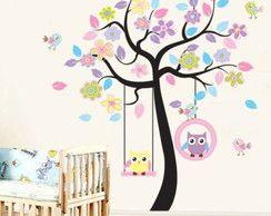 Adesivo infantil - Árvore e corujinhas