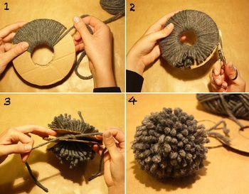 ドーナツ型のダンボールを2枚用意します。 ぐるぐる巻き付けて、外側の隙間にはさみを差し込んでぐるりと切ります。2枚の隙間に毛糸を渡らせて結び目を作り、解けないようにぎゅっと締めます。丸く形を整えたら出来上がり。