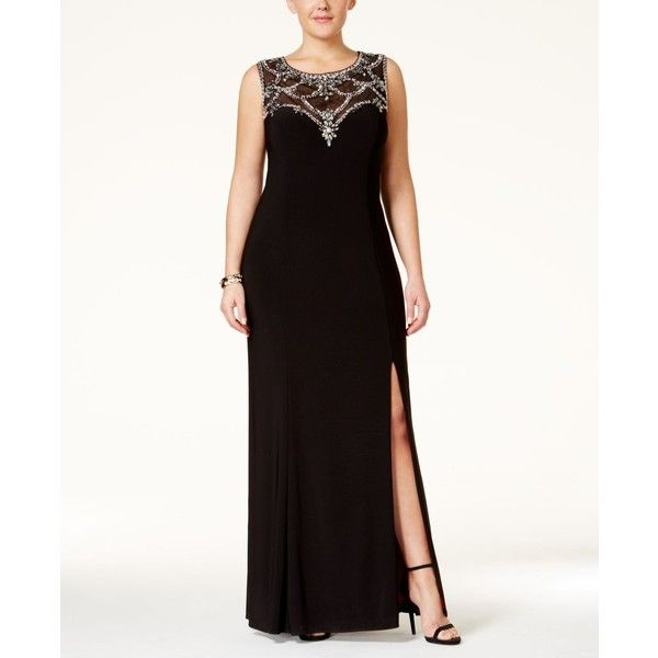 Betsy & Adam Plus Size Embellished Illusion Sweetheart Gown ($259) ❤ liked on Polyvore featuring plus size women's fashion, plus size clothing, plus size dresses, plus size gowns, black, formal gowns, formal evening gowns, plus size formal evening gowns, plus size formal gowns and plus size ball gowns