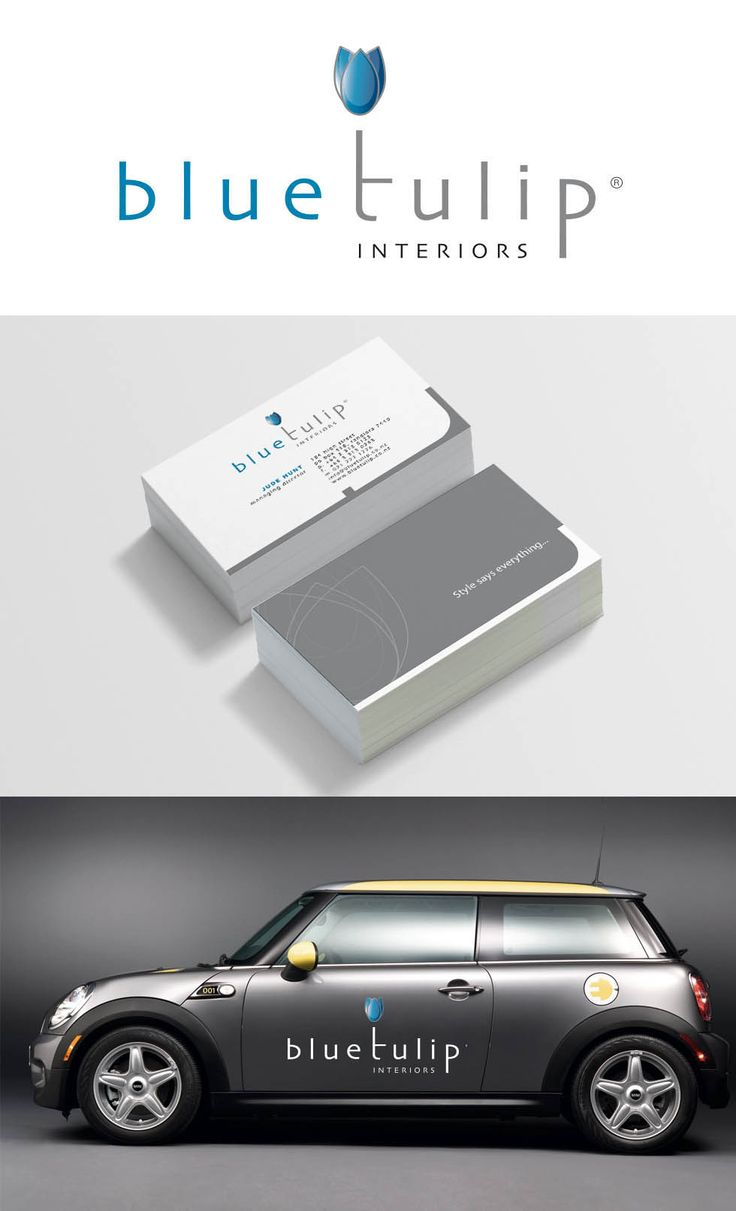 Blue Tulip Interiors branding and vehicle signage.