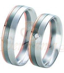 Βέρες γάμου τρίχρωμες με διαμάντι Breuning 6335-6336