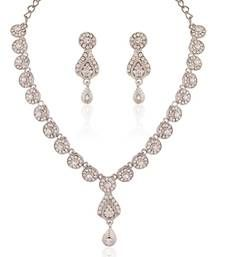 Buy Eye-Catchy Rhodium plated Australian Diamond Stone  Necklace Set necklace-set online