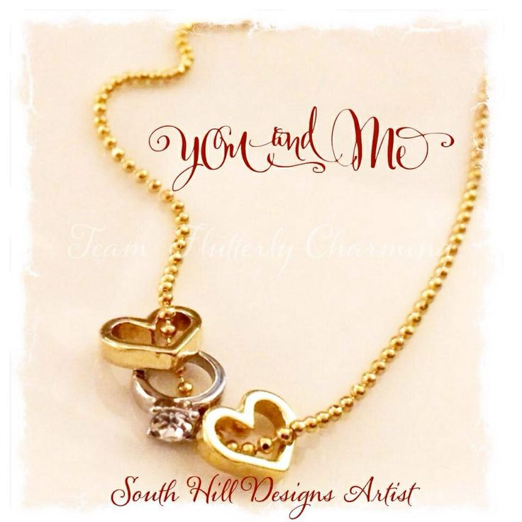 Another great way to wear our charms! String the new gold heart and wedding ring charm through a diamond cut ball chain to make an elegant necklace! #southhilldesigns  www.southhilldesigns.com/kristencopeland Independent Artist #325930