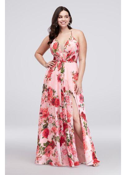 da74cdaf986 Slit Skirt Floral Chiffon A-Line Plus Size Gown 59340DW