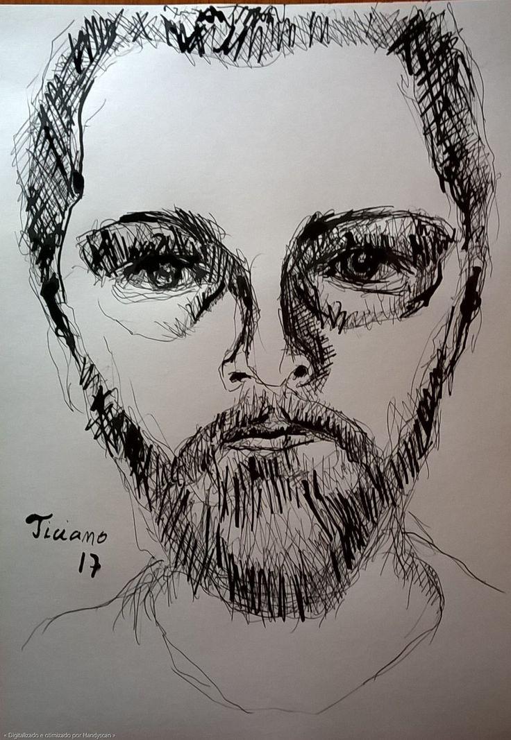 Desenho de Ticiano Souza - Autorretrato - Desenho bico-de-pena feito com caneta esferográfica e nanquim - 2017