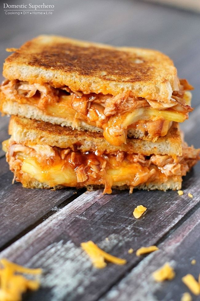 Bbq Chicken Amp Pineapple Grilled Cheese Recipe Grilled Cheese Recipes Food Sandwiches