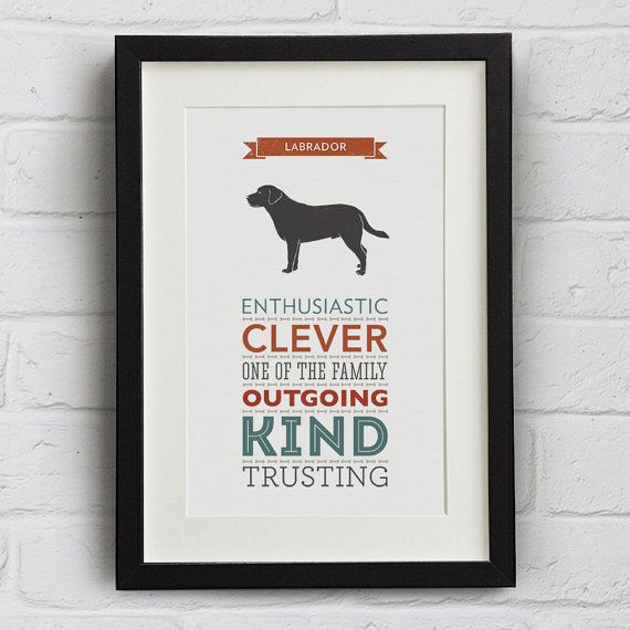 Labrador Dog Breed Traits Typography Print by WellBredDesign