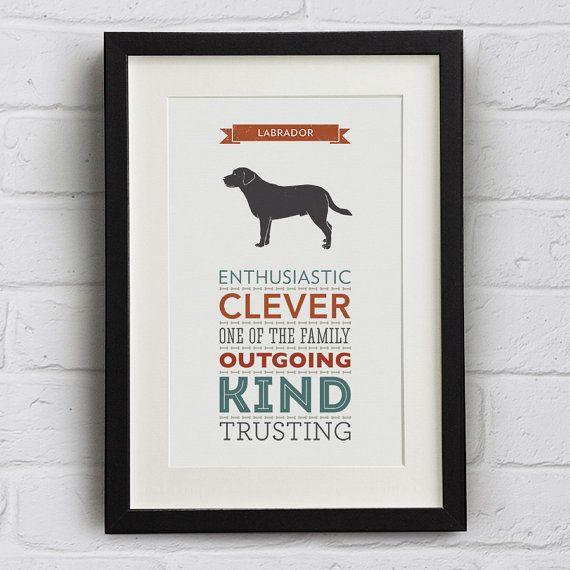 Labrador Dog Breed Traits Typography Print by WellBredDesign, £12.95