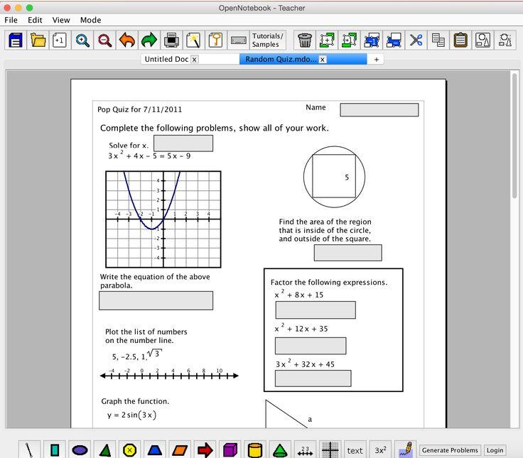 """""""Open Notebook"""" er et gratis program man kan downloade og lave matematik-opgaveark med"""