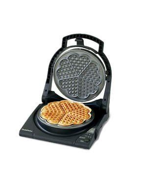 Chef's Choice 840 WafflePro Express Waffle Maker, Traditional Five of Hearts |  $64.99 FROM AMAZON If you've got a picky eater in the house or simply favor adorable Scandinavian-style crispy waffles the Chef's Choice 840 Waffle Pro Express is the model for you. Heating up in as little as 90 seconds, this waffle maker produces one thin flower shaped waffle that easily splits into 5 sweet heart-shaped mini waffles.
