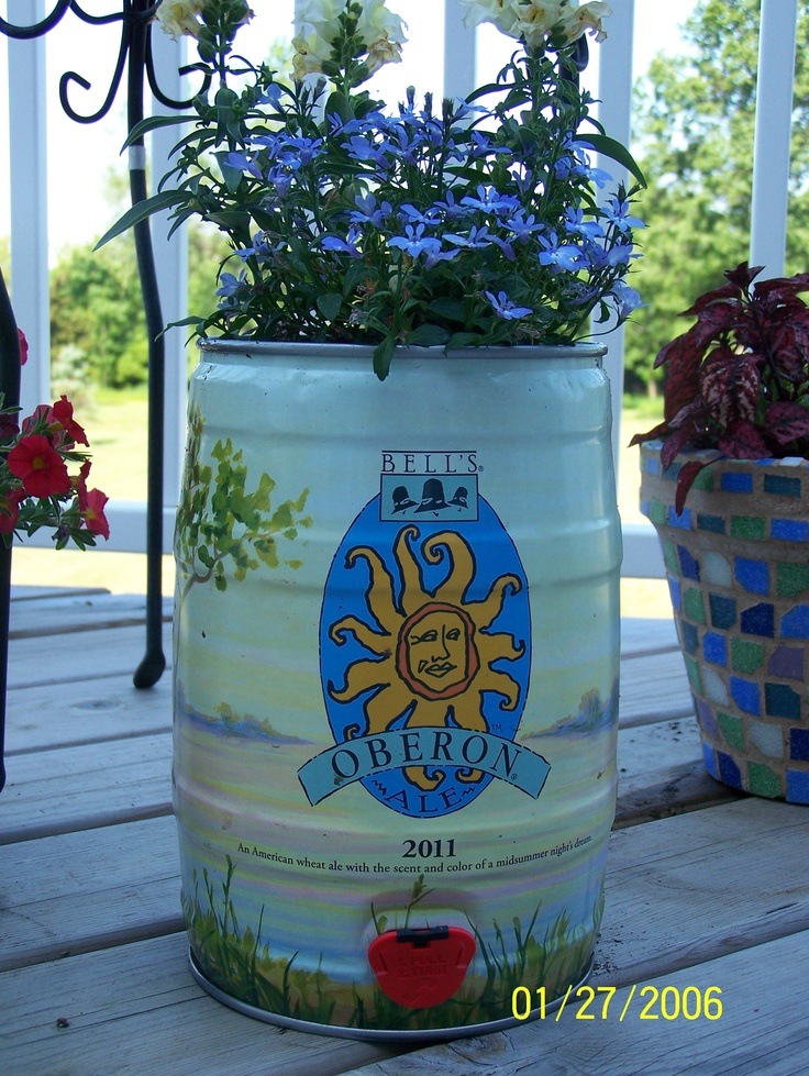 Planters from Oberon mini kegs.  Really easy and they have a new keg design every year.  I've done the 2010, 2011 & 2012 mini kegs.  Doing my part to recycle!