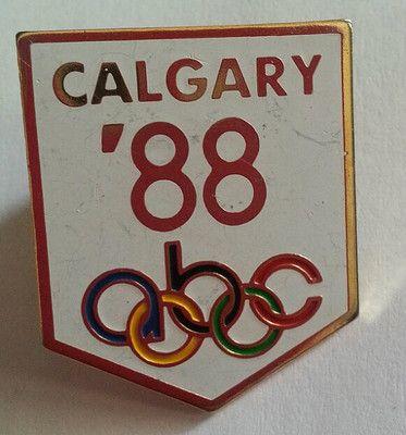 Vintage 1988 ABC Calgary Olympics Memorabilia Pin Old in Good Shape White | eBay