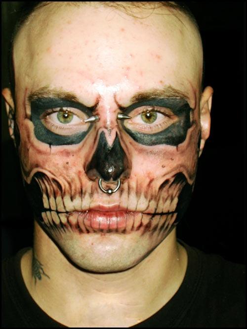 Nick Genest's famous skull face tattoo design
