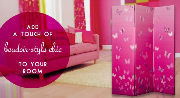 Add a touch of boudoir-style chic to your bedroom – three-panel room divider with pretty butterfly design