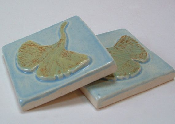3 Gingko/Ginkgo Tile/ Arts and Crafts tile for by FayJonesDayTile