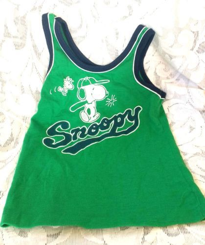 Vintage-Kids-Snoopy-Shirt-Tank-Top-Peanuts-Woodstock-Rob-Roy-Size-7-Green-amp-Blue