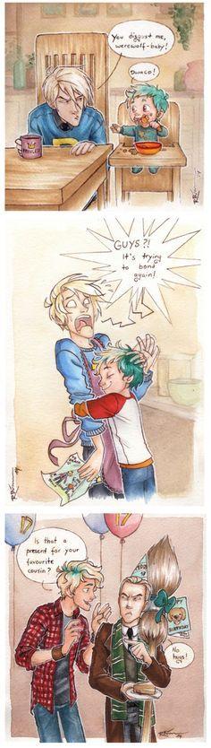 Draco and Teddy (Draco wears a Weasley sweater!) ... draco malfidus, harry potter, teddy lupin, draco, malfidus, teddy, lupin << That's flippin' adorable.