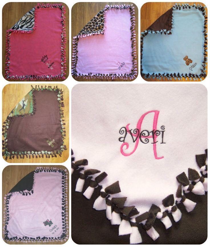 PERSONALIZED/MONOGRAM Baby Girl Tie Knot Fleece Blanket #Handcrafted