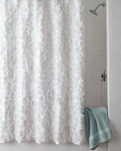 White Flower Power Shower Curtain