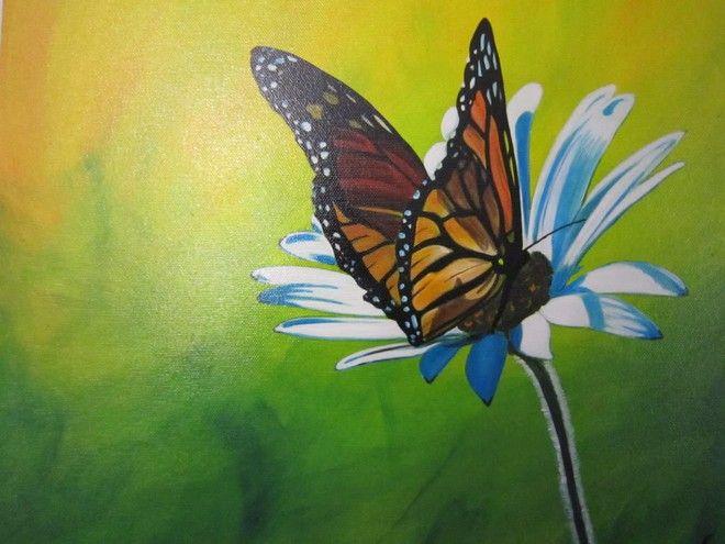 (¯`'•.FARFALLA.•'´¯) quadro dipinto a mano, 40x40, moderno