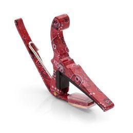 Kapodaster för stålsträngad gitarr (6 strängar). Röd paisley...