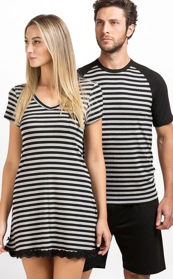 GONZALO -  Aposta pelo Homewear! Nunca pense que são só pijamas. Listrado exclusivo, melange escuro e claro e preto com mescla de Modal com Lycra.