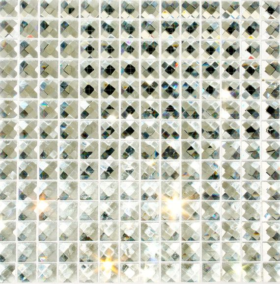 20 Silver Mirror Faceted Crystal Bling Tile 3 4 Quot Were On