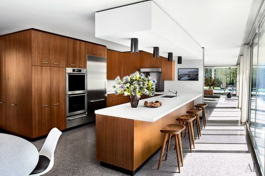 Contemporary interpretation of Mid century modern kitchen with terrazzo floors