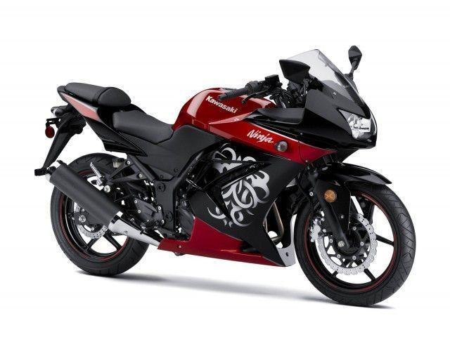 red & black kawasaki ninja 250r. Only downside is that it's the 250, but it's definitely pretty!